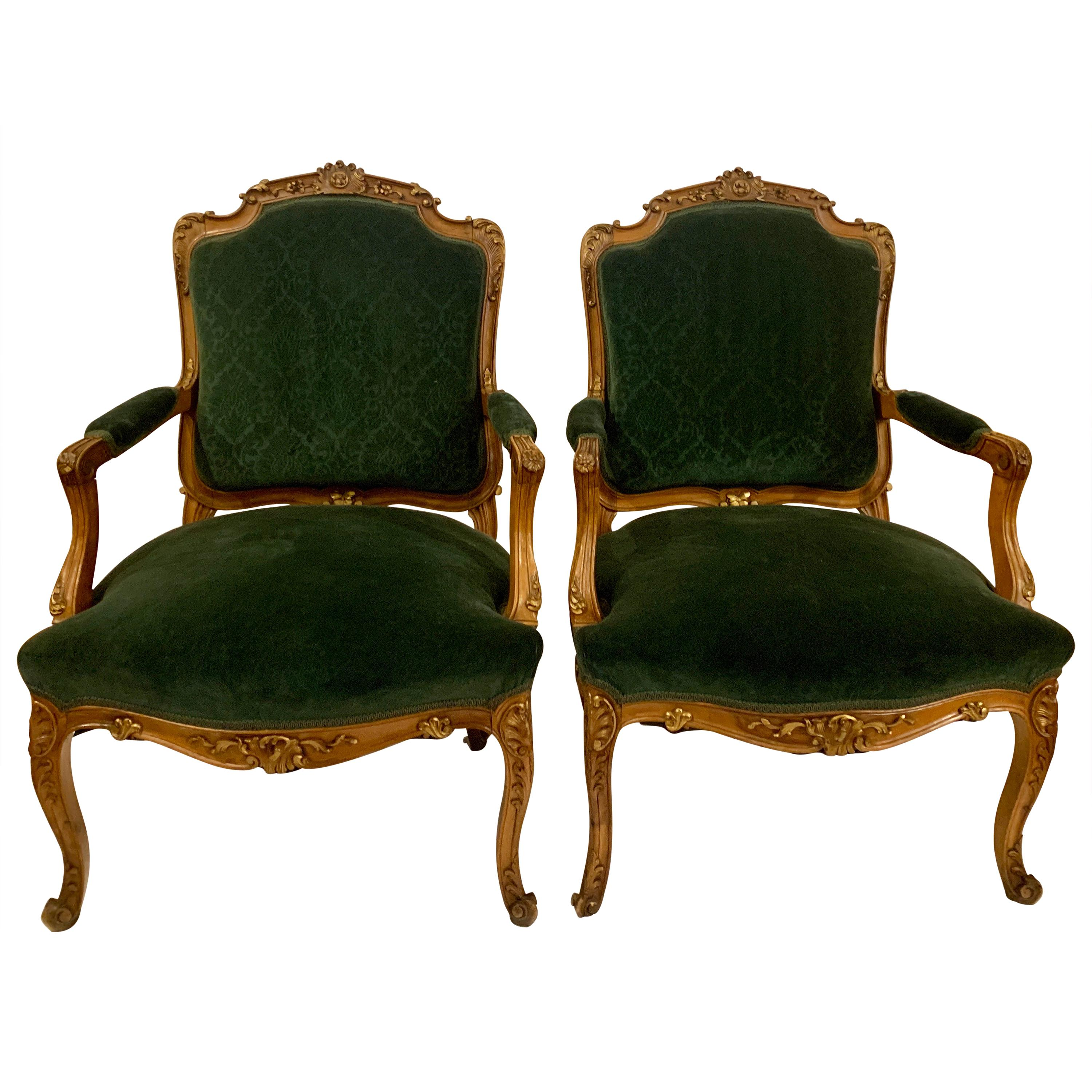Pair of Antique Late 19th Century French Walnut Armchairs