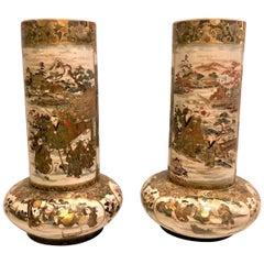 Pair of Antique Late 19th Century Satsuma Porcelain Urns