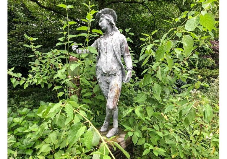Pair of Antique Lead Garden Figures For Sale 13