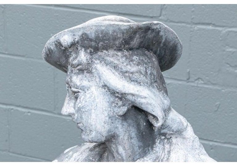Pair of Antique Lead Garden Figures For Sale 5