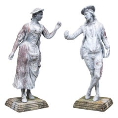 Pair of Antique Lead Garden Figures