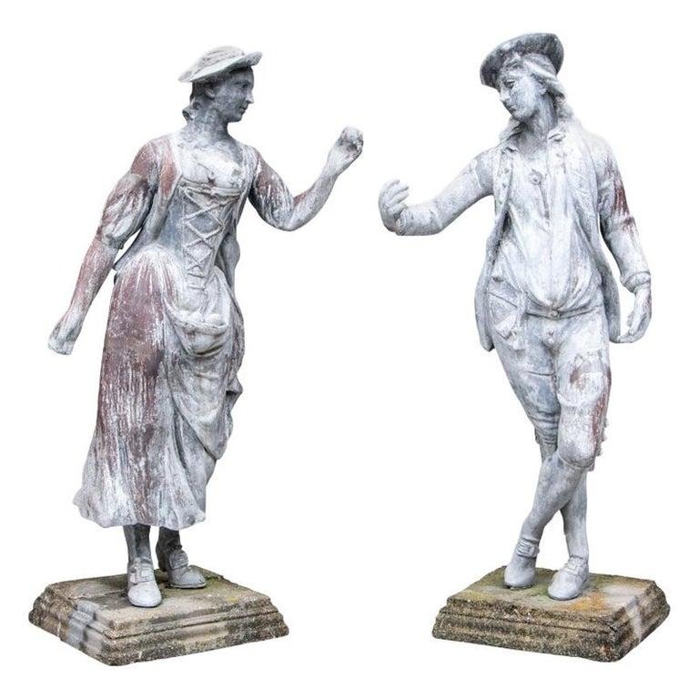 Pair of Antique Lead Garden Figures For Sale