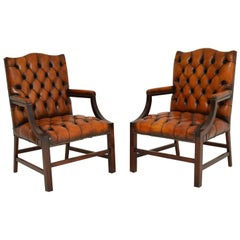 Pair of Antique Leather and Mahogany Gainsborough Armchairs