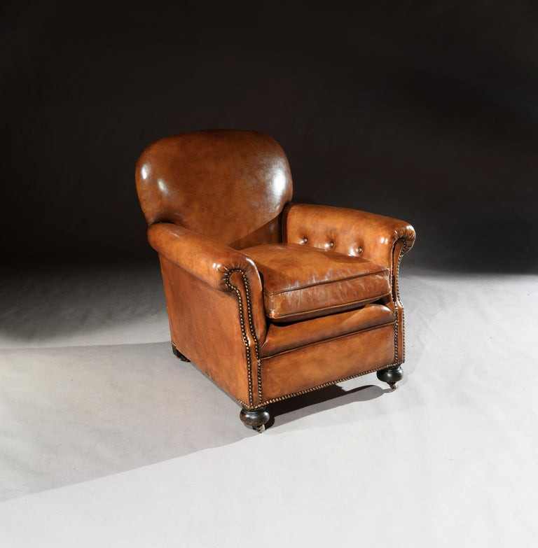 Edwardian Pair of Antique Leather Club Armchairs For Sale