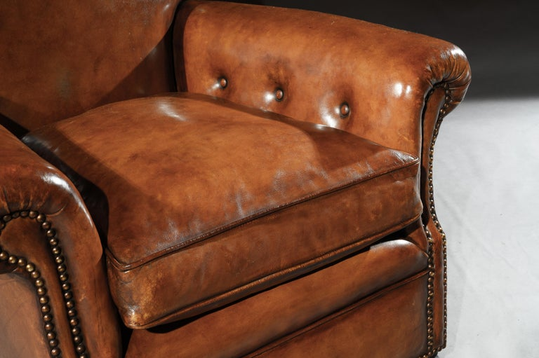 English Pair of Antique Leather Club Armchairs For Sale