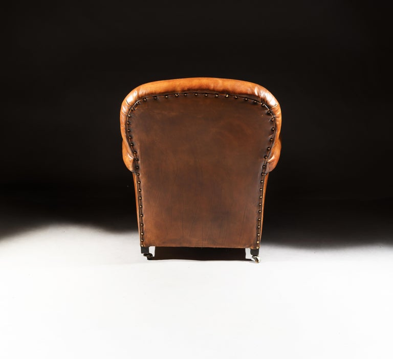 Pair of Antique Leather Club Armchairs For Sale 2