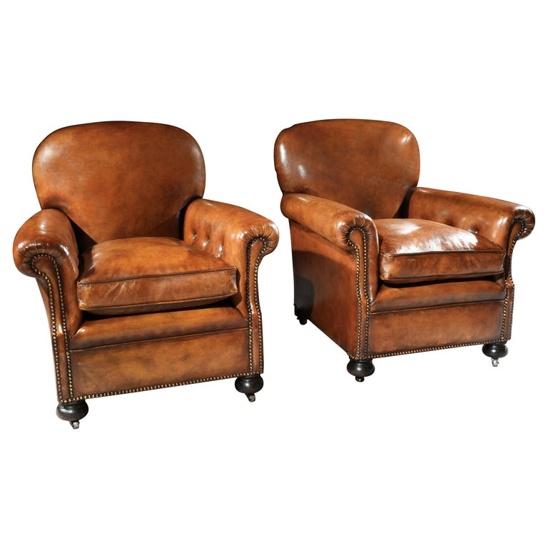 Pair of Antique Leather Club Armchairs For Sale
