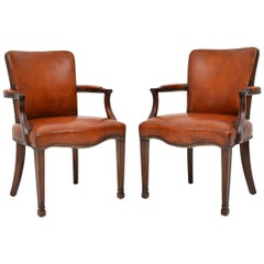Pair of Antique Leather and Mahogany Open Armchairs