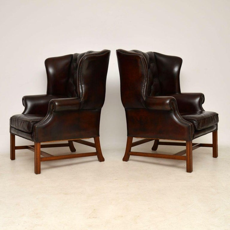 Pair of Antique Leather Wing Back Armchairs For Sale at ...