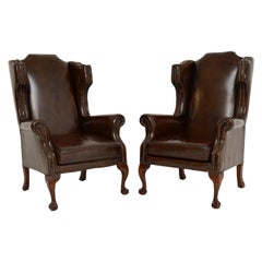 Pair of Antique Leather Wingback Armchairs