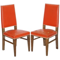 Pair of Antique Limed Oak Art Deco Chairs Part of Suite Reupholstery Upholstery
