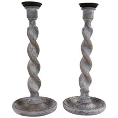 Pair of Antique Limed Oak Twisted Column Candlesticks, English, circa 1920