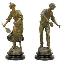 Pair of Antique Louis Moreau Spelter Tennis Figures, Bronze Sculptures