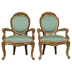 Pair of Antique, Louis XV Revival, Open Armchairs, French, Giltwood, circa 1900