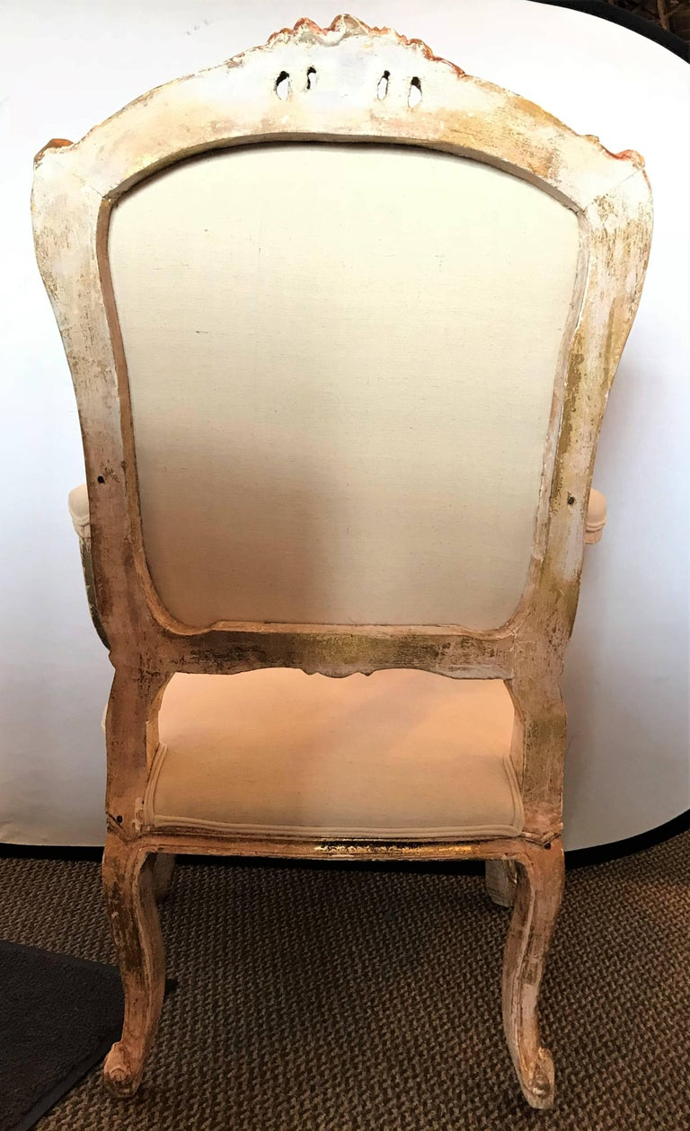 Pair of Antique Louis XV Style Armchairs in Painted Distressed Frames For Sale 4