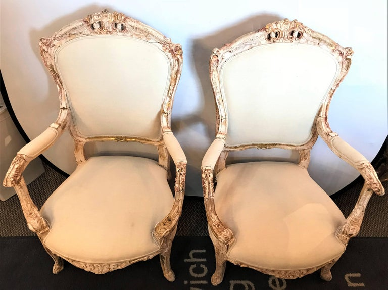 Pair of Antique Louis XV Style Armchairs in Painted Distressed Frames For Sale 5