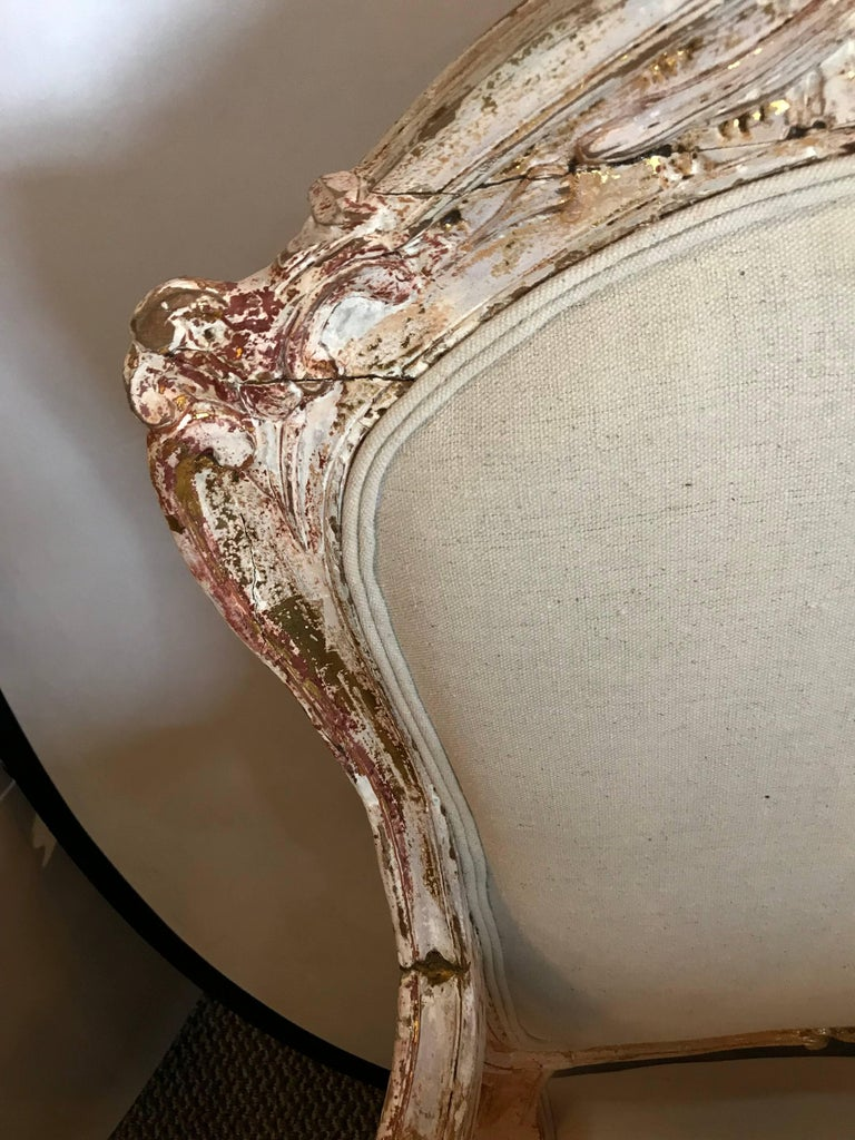 20th Century Pair of Antique Louis XV Style Armchairs in Painted Distressed Frames For Sale