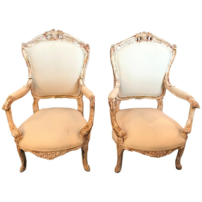Pair of Antique Louis XV Style Armchairs in Painted Distressed Frames For Sale