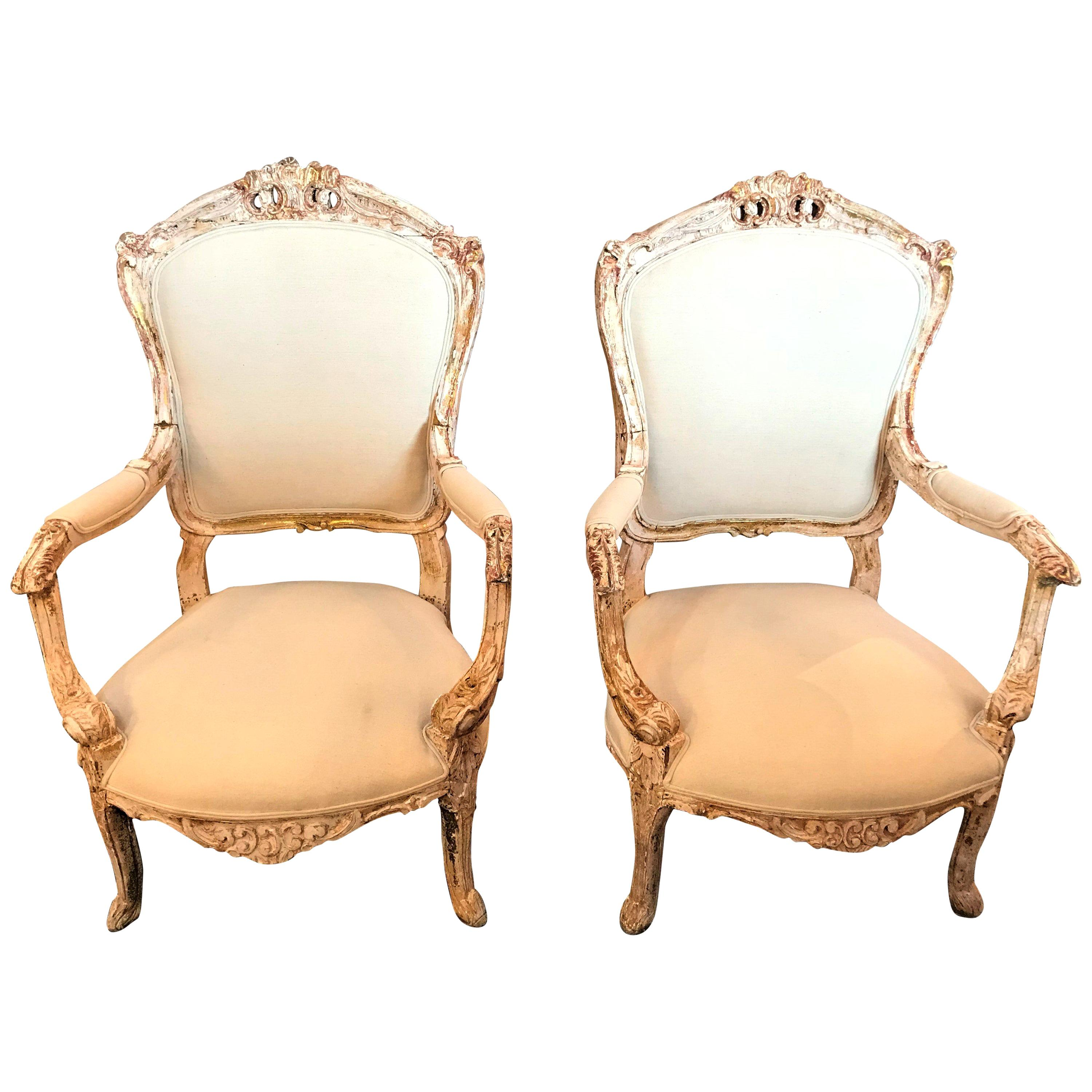 Pair of Antique Louis XV Style Armchairs in Painted Distressed Frames