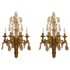 Pair of Antique Louis XVI Baccarat Crystal and Ormolu Sconces