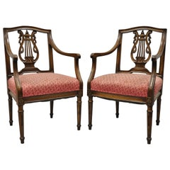 Pair of Antique Louis XVI French Style Lyre Back Italian Armchairs