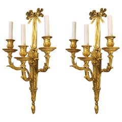 Pair of Antique Louis XVI Ormolu Sconces