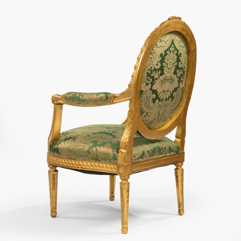 French Pair of Antique Louis XVI Style Carved Armchairs with Green Upholstery For Sale