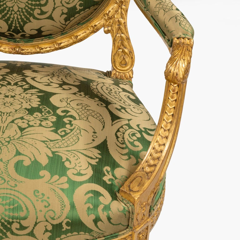 Pair of Antique Louis XVI Style Carved Armchairs with Green Upholstery In Excellent Condition For Sale In London, GB