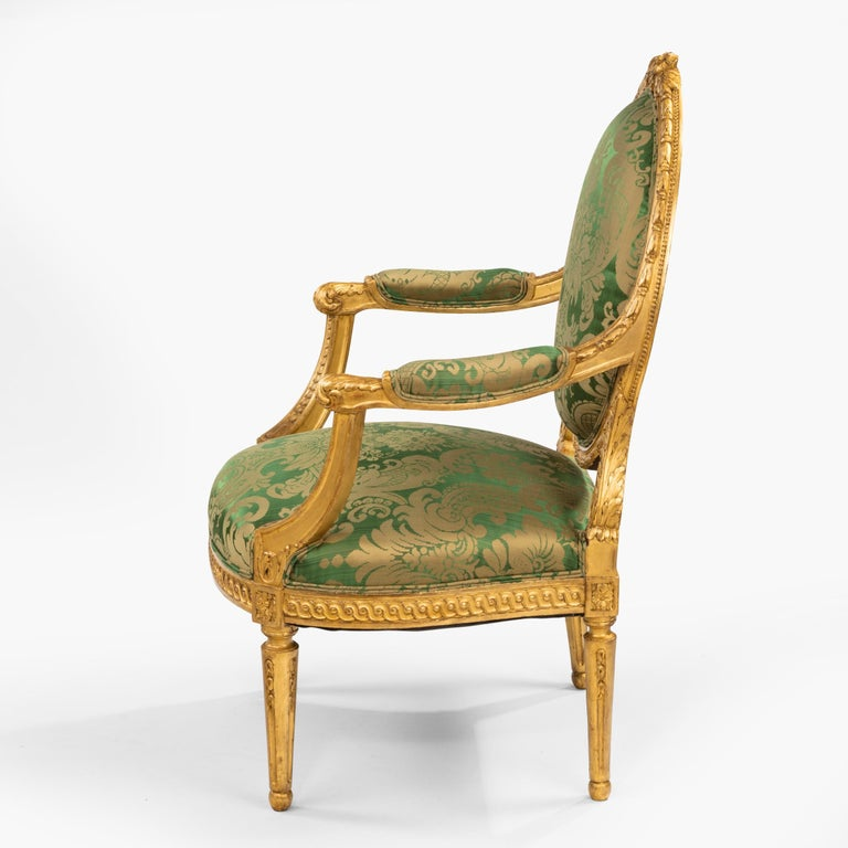 19th Century Pair of Antique Louis XVI Style Carved Armchairs with Green Upholstery For Sale