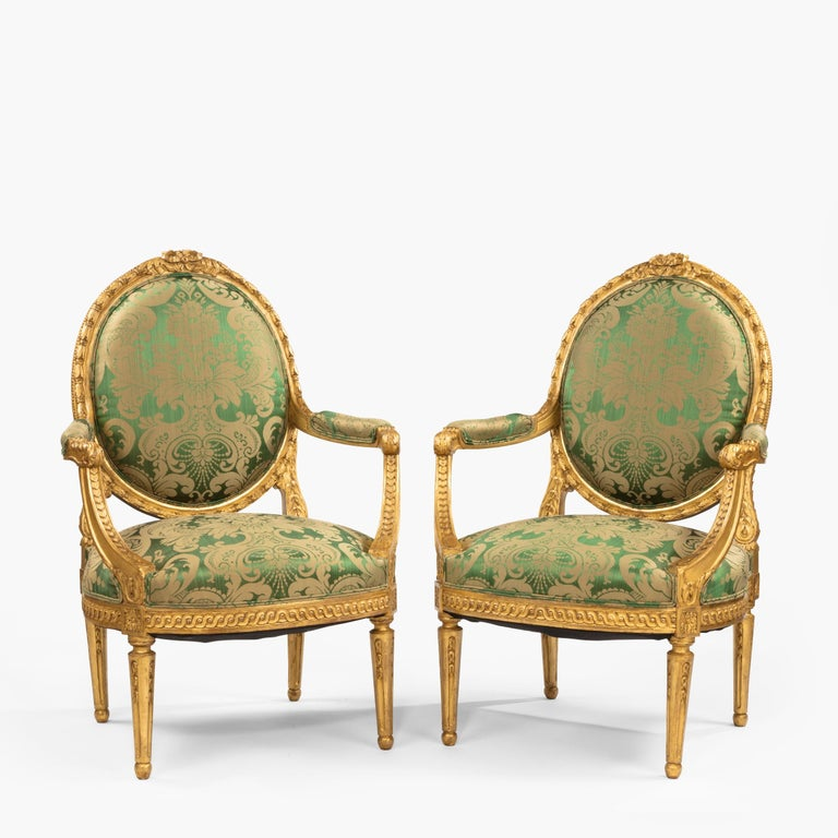 Pair of Antique Louis XVI Style Carved Armchairs with Green Upholstery For Sale 1