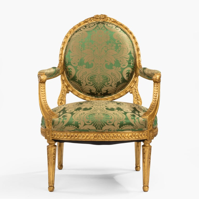 Pair of Antique Louis XVI Style Carved Armchairs with Green Upholstery For Sale 2
