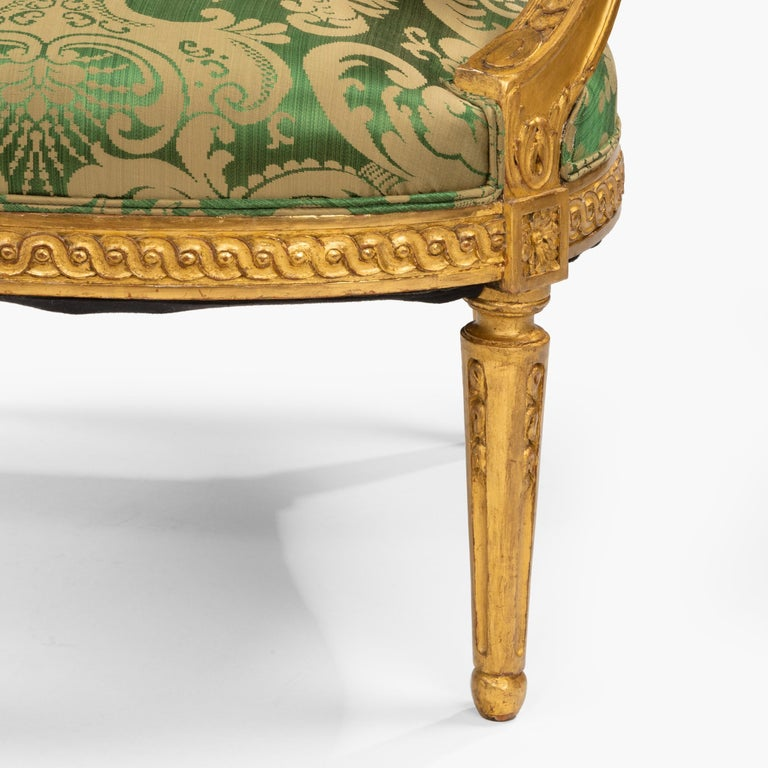 Pair of Antique Louis XVI Style Carved Armchairs with Green Upholstery For Sale 4