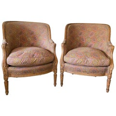 Pair of Antique Louis XVI Style Down Filled Bergères
