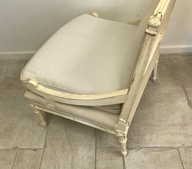 19th Century Pair of Antique Louis XVI Style Slipper Chairs For Sale