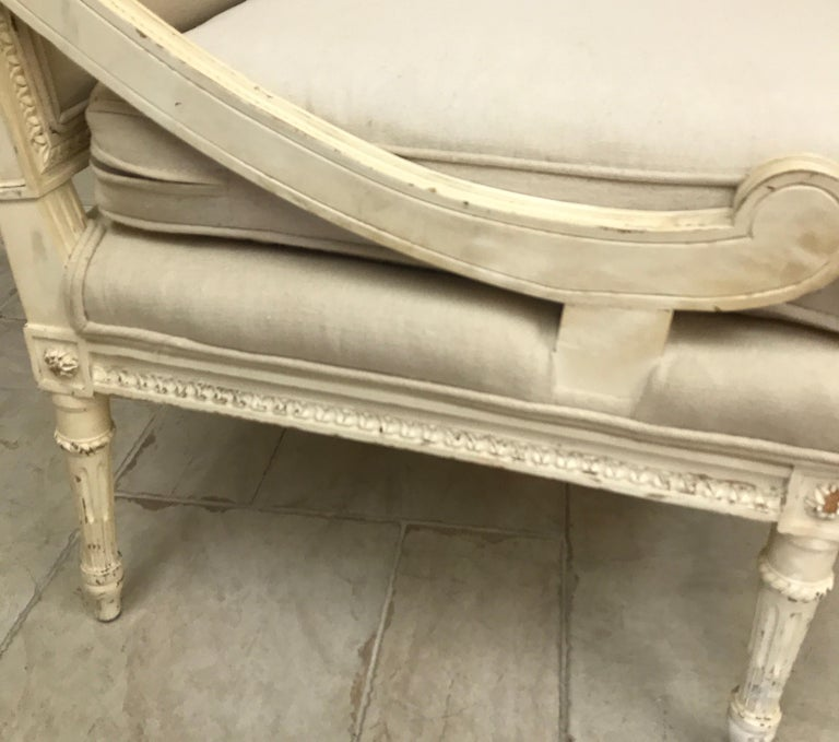 Pair of Antique Louis XVI Style Slipper Chairs For Sale 2