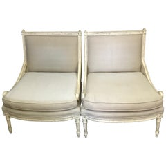 Pair of Antique Louis XVI Style Slipper Chairs