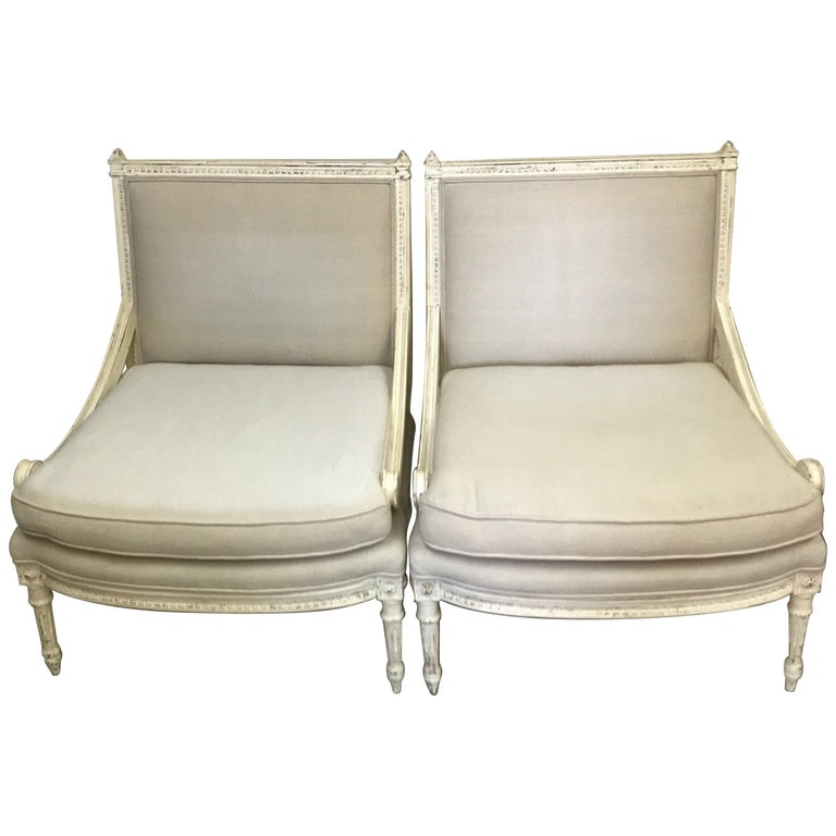 Pair of Antique Louis XVI Style Slipper Chairs For Sale