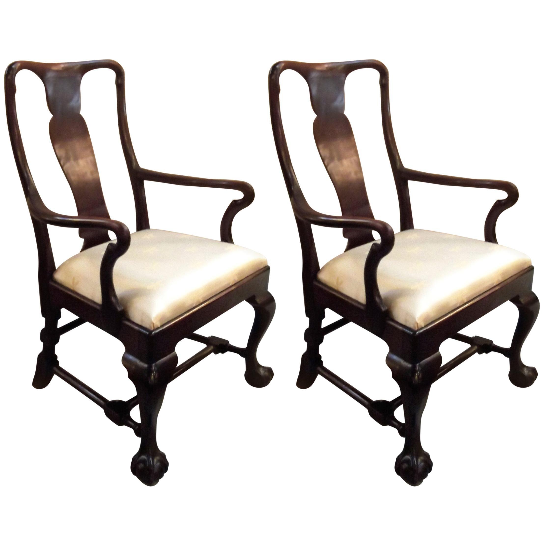 Pair of Antique Mahogany Armchairs 19th Century