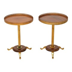 Pair of Antique Mahogany and Brass Wine Tables