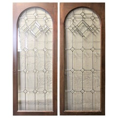 Pair of Antique Mahogany Cabinet Doors with Leaded Glass Panels