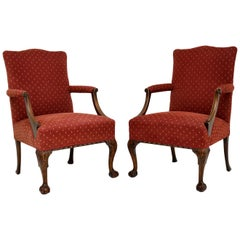 Pair of Antique Mahogany Chippendale Style Armchairs