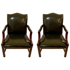 Pair of Antique Mahogany Gainsborough Armchairs, circa 1880