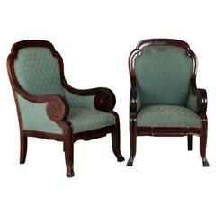 Pair of Antique Mahogany Library Armchairs