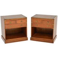Pair of Antique Mahogany Military Campaign Style Cabinets