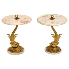 Pair of Antique Marble and Brass Side Tables