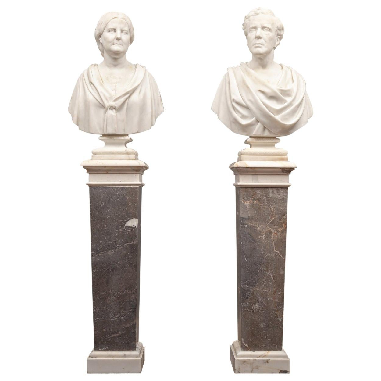 Pair of Antique Marble Busts