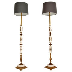 Pair of Antique Marble and Gilt Metal Floor Lamps