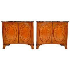 Pair of Antique Marble Top Painted Adam Revival Satinwood Commodes Cabinets 1880