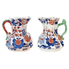Pair of Antique Mason's Ironstone Pitchers