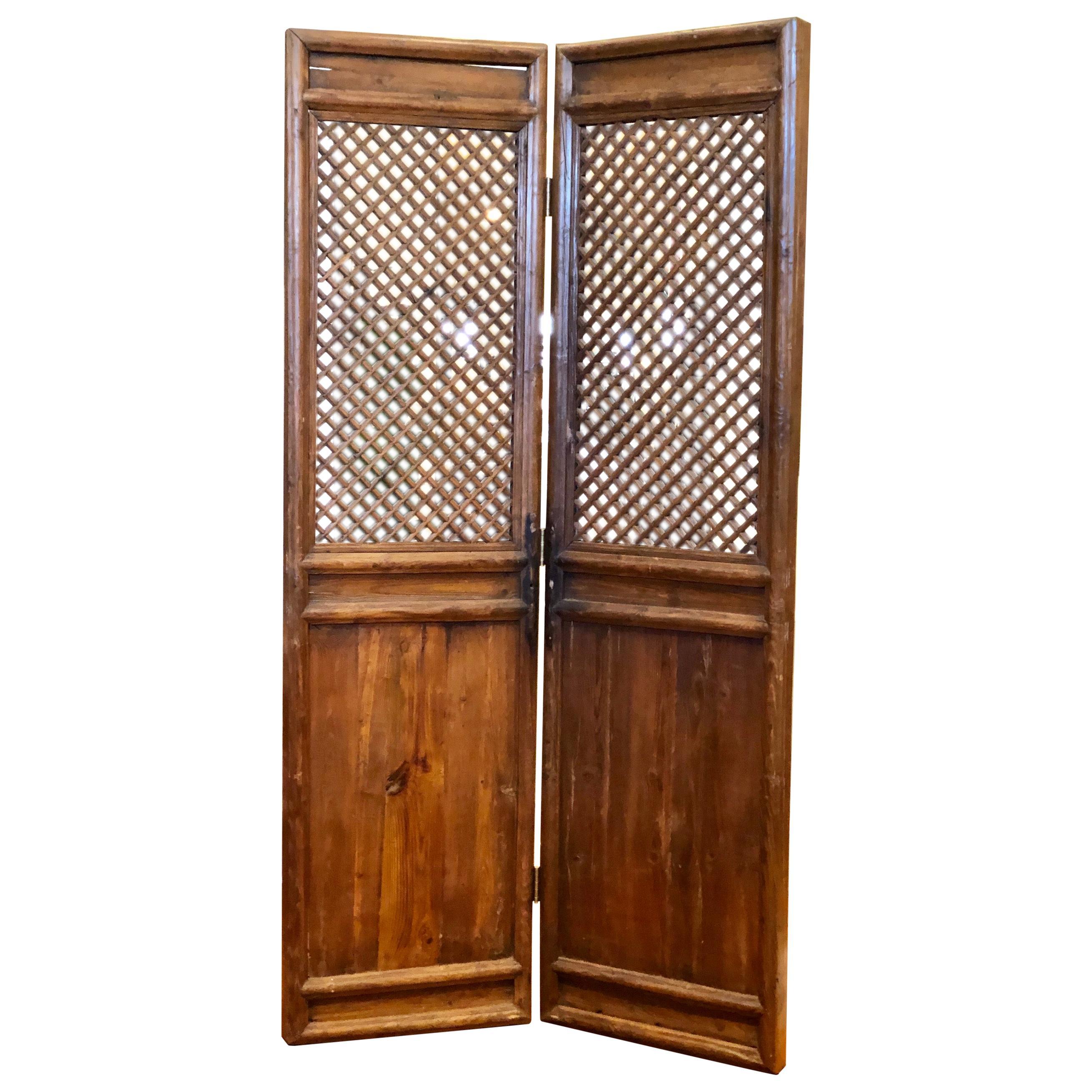 Pair of Antique Massive Tall Rustic Doors Wall Panels Room Dividers Screen